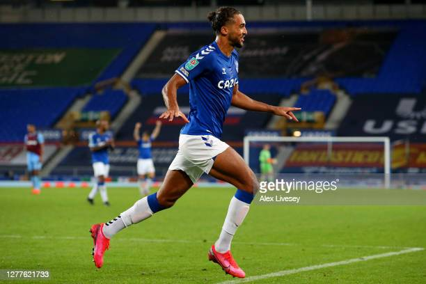 Dominic Calvert-Lewin of Everton celebrates after scoring his sides fourth goal during the Carabao Cup fourth round match between Everton and West...