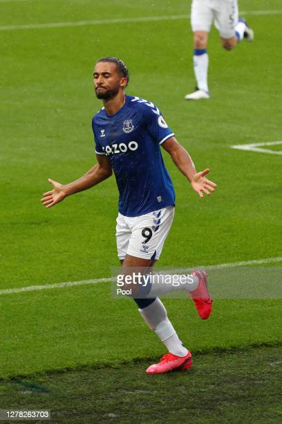 Dominic Calvert-Lewin of Everton celebrates after scoring his sides first goal during the Premier League match between Everton and Brighton & Hove...