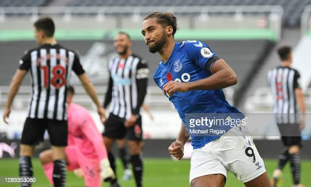Dominic Calvert-Lewin of Everton celebrates after scoring his sides first goal during the Premier League match between Newcastle United and Everton...