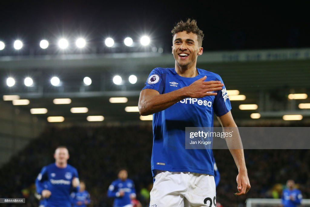 Dominic Calvert-Lewin of Everton celebrates after scoring his sides second goal during the Premier League match between Everton and Huddersfield Town at Goodison Park on December 2, 2017 in Liverpool, England.