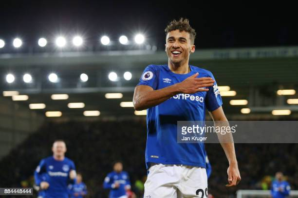 Dominic Calvert-Lewin of Everton celebrates after scoring his sides second goal during the Premier League match between Everton and Huddersfield Town...