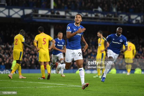 Dominic CalvertLewin of Everton celebrates after scoring his team's first goal during the Premier League match between Everton FC and Crystal Palace...