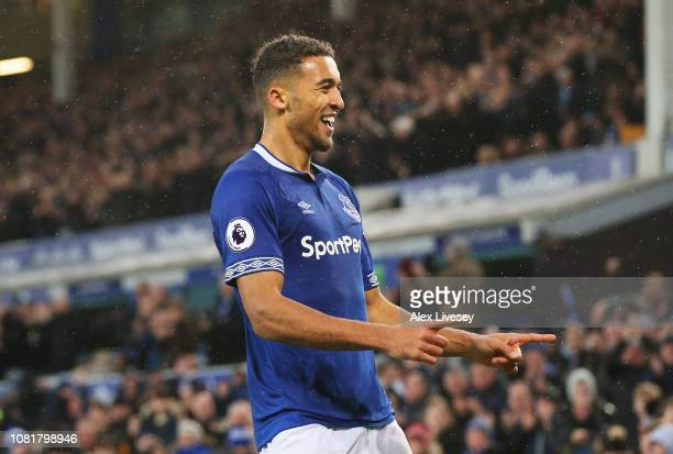 Dominic CalvertLewin of Everton celebrates after scoring his team's second goal during the Premier League match between Everton FC and AFC...