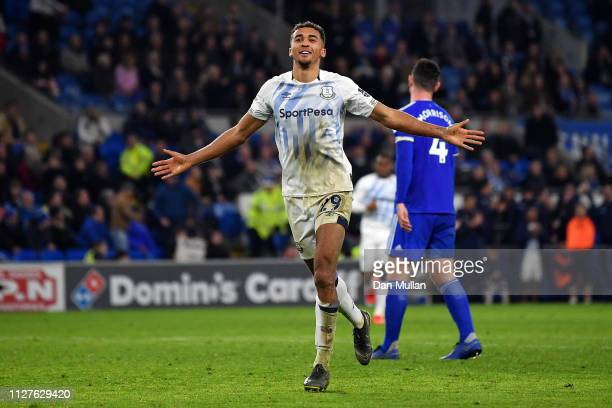 Dominic CalvertLewin of Everton celebrates after scoring his team's third goal during the Premier League match between Cardiff City and Everton FC at...