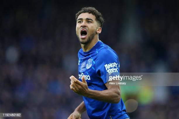 Dominic CalvertLewin of Everton celebrates after scoring his team's second goal during the Premier League match between Everton FC and Chelsea FC at...