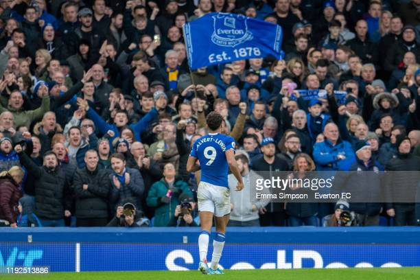 Dominic CalvertLewin of Everton celebrates after scoring his teams second goal during the Premier League match between Everton FC and Chelsea FC at...