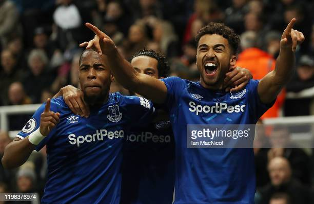 Dominic CalvertLewin of Everton celebrates after scoring his team's winning goal during the Premier League match between Newcastle United and Everton...