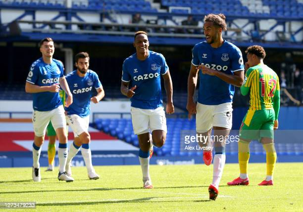 Dominic Calvert-Lewin of Everton celebrates after scoring his team's fifth goal during the Premier League match between Everton and West Bromwich...