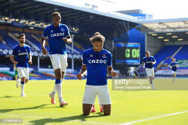 Dominic Calvert-Lewin of Everton celebrates after scoring their 5th goal during the Premier League match between Everton and West Bromwich Albion at...