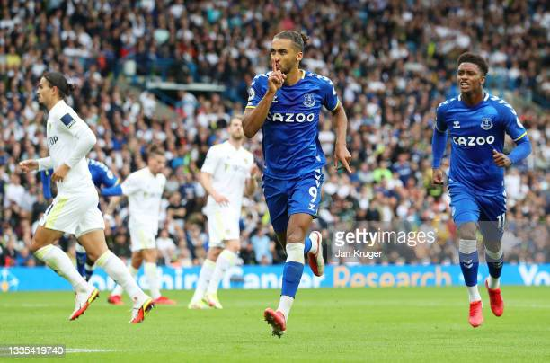 Dominic Calvert-Lewin of Everton celebrates after scoring their side's first goal from the penalty spot during the Premier League match between Leeds...
