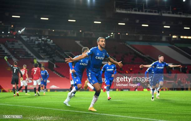 Dominic Calvert-Lewin of Everton celebrates after scoring their team's third goal during the Premier League match between Manchester United and...