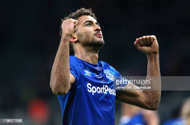 Dominic CalvertLewin of Everton celebrates after the Premier League match between Newcastle United and Everton FC at St James Park on December 28...