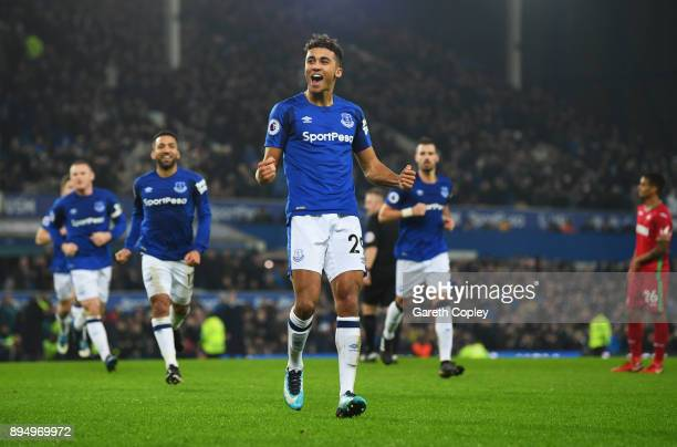 Dominic CalvertLewin of Everton celebrates as he scores their first goal during the Premier League match between Everton and Swansea City at Goodison...