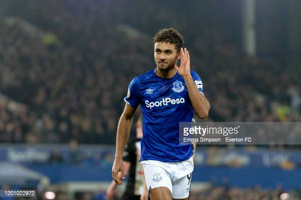 Dominic CalvertLewin of Everton celebrates his goal during the Premier League match between Everton and Newcastle United at Goodison Park on January...
