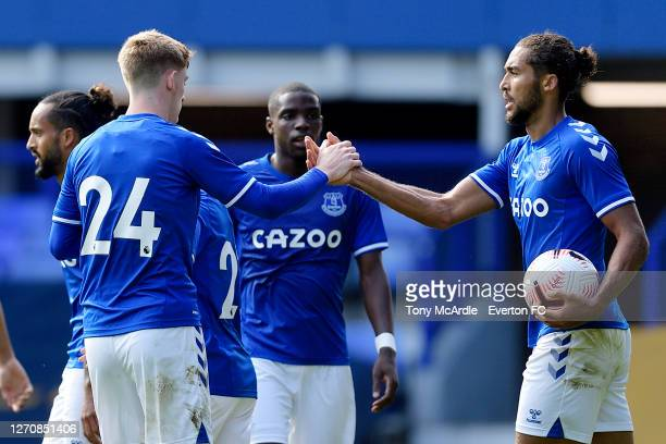 Dominic CalvertLewin of Everton celebrates his goal with Anthony Gordon during the PreSeason Friendly match between Everton and Preston North End at...