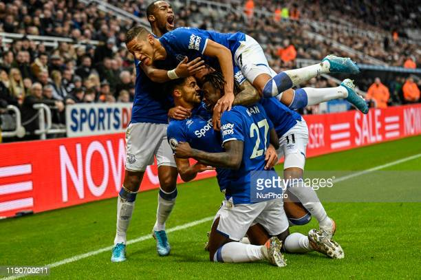 Dominic CalvertLewin of Everton celebrates his goal with his team mates after scoring to make it 10 during the Premier League match between Newcastle...