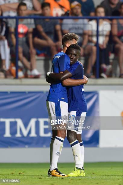 Dominic CalvertLewin of Everton celebrates his goal with Idrissa Gueye during UEFA Europa League Qualifier match between MFK Ruzomberok and Everton...