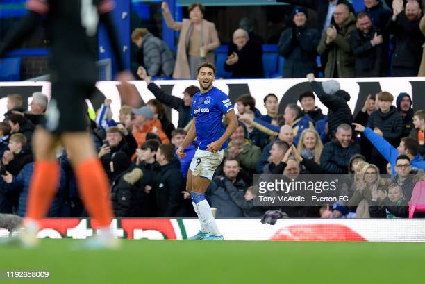 Dominic CalvertLewin of Everton celebrates his second goal during the Premier League match between Everton and Chelsea at Goodison Park on December 7...