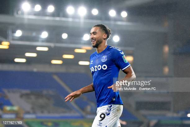 September 30: Dominic Calvert-Lewin of Everton celebrates his second goal during the Carabao Cup Fourth Round match between Everton and West Ham...