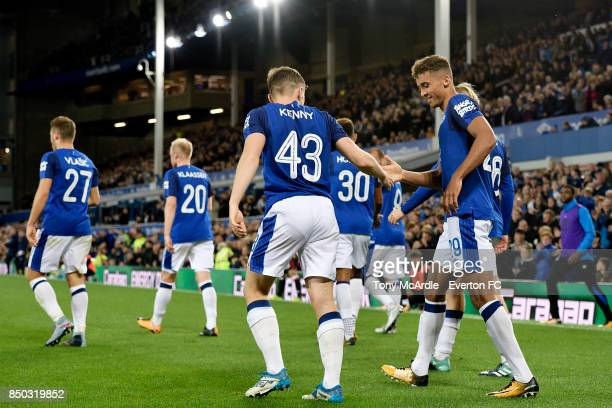Dominic CalvertLewin of Everton celebrates his second goal with Jonjoe Kenny during the Carabao Cup Third Round match between Everton and Sunderland...