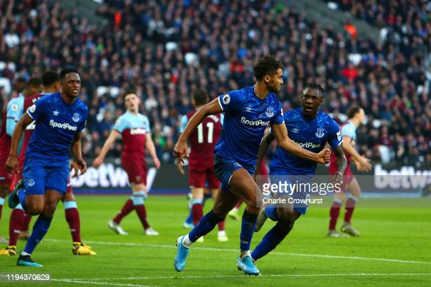 Dominic Calvert-Lewin of Everton celebrates scoring a goal to make the score 1-1 during the Premier League match between West Ham United and Everton...