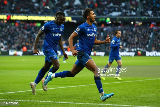 Dominic CalvertLewin of Everton celebrates scoring a goal to make the score 11 during the Premier League match between West Ham United and Everton FC...