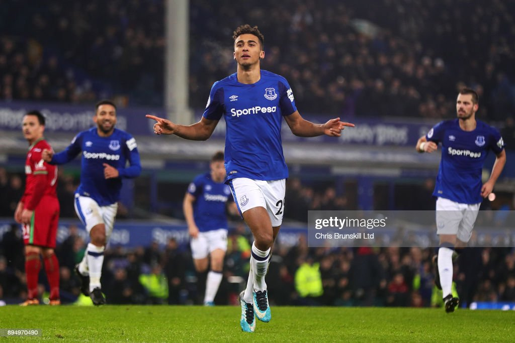 Dominic Calvert-Lewin of Everton celebrates scoring his side's first goal during the Premier League match between Everton and Swansea City at Goodison Park on December 18, 2017 in Liverpool, England.