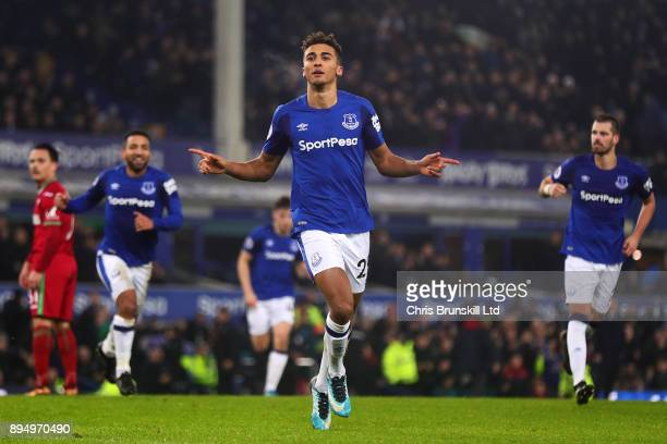 Dominic CalvertLewin of Everton celebrates scoring his side's first goal during the Premier League match between Everton and Swansea City at Goodison...