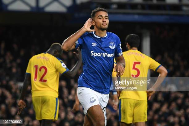 Dominic CalvertLewin of Everton celebrates scoring his team's first goal during the Premier League match between Everton FC and Crystal Palace at...