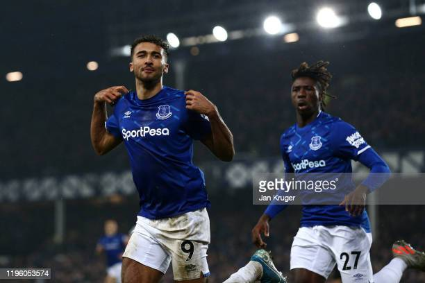 Dominic CalvertLewin of Everton celebrates scoring his teams first goal of the game during the Premier League match between Everton FC and Burnley FC...