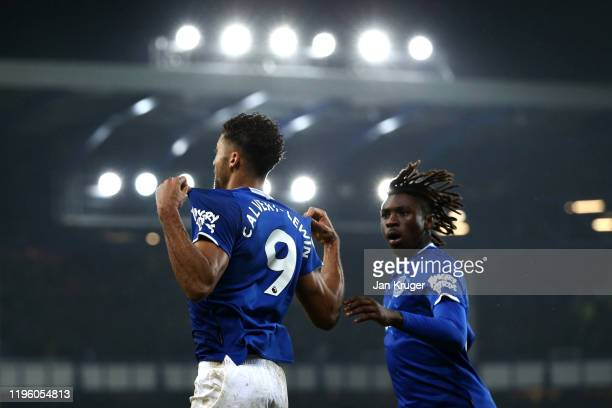 Dominic CalvertLewin of Everton celebrates scoring his teams first goal of the game with team mate Moise Kean during the Premier League match between...