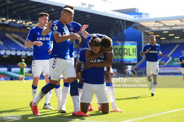 Dominic Calvert-Lewin of Everton celebrates scoring their 5th goal with Richarlison and Yerry Mina during the Premier League match between Everton...