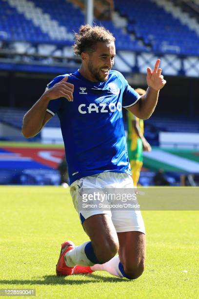 Dominic Calvert-Lewin of Everton celebrates scoring their 5th goal during the Premier League match between Everton and West Bromwich Albion at...