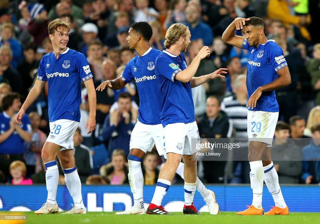 Dominic Calvert-Lewin of Everton (2) celebrates with team mates as he scores his team's second goal during the Carabao Cup Second Round match between Everton and Rotherham United at Goodison Park on August 29, 2018 in Liverpool, England.