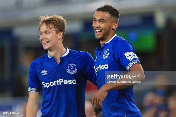 Dominic CalvertLewin of Everton celebrates with teammate Kieran Dowell of Everton after scoring their 3rd goal during the Carabao Cup Second Round...