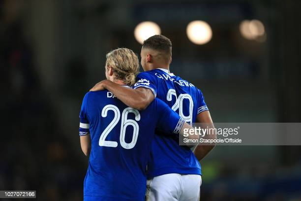 Dominic CalvertLewin of Everton celebrates with teammate Tom Davies of Everton after scoring their 2nd goal during the Carabao Cup Second Round match...