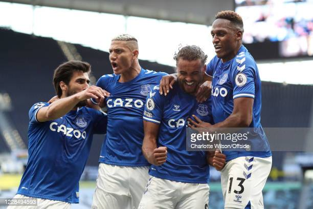 Dominic Calvert-Lewin of Everton celebrates with teammates Andre Gomes of Everton , Richarlison of Everton and Yerry Mina of Everton after scoring...