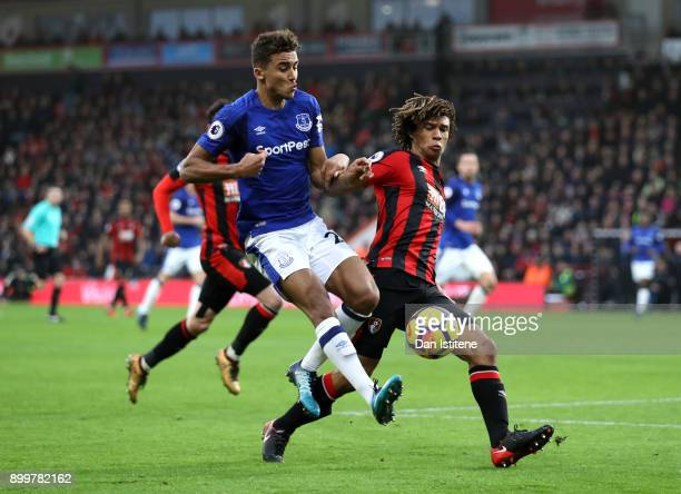 Dominic CalvertLewin of Everton challenges Nathan Ake of AFC Bournemouth during the Premier League match between AFC Bournemouth and Everton at...