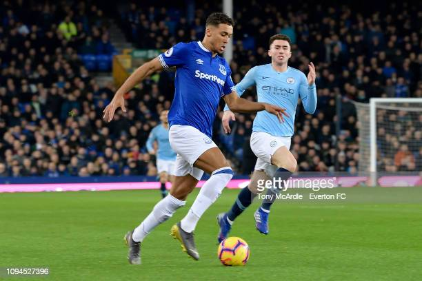 Dominic CalvertLewin of Everton controls the ball during the Premier League match between Everton and Manchester Cit at Goodison Park on February 6...
