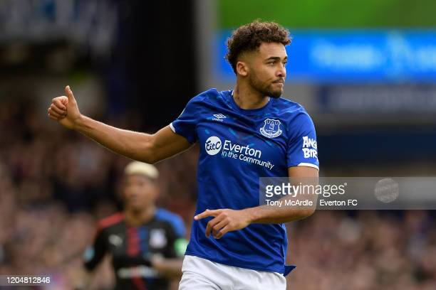 Dominic CalvertLewin of Everton during the Premier League match between Everton and Crystal Palace at Goodison Park on February 8 2020 in Liverpool...