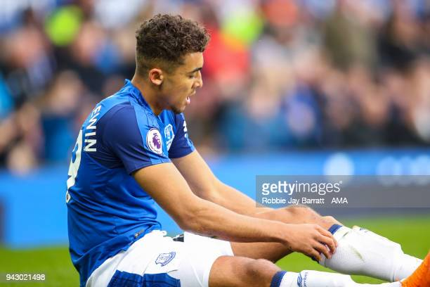 Dominic CalvertLewin of Everton during the Premier League match between Everton and Liverpool at Goodison Park on April 7 2018 in Liverpool England