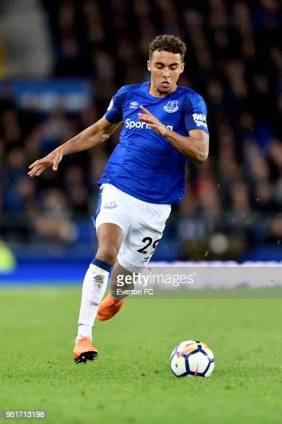 Dominic CalvertLewin of Everton during the Premier League match between Everton and Newcastle United at Goodison Park on April 23 2018 in Liverpool...