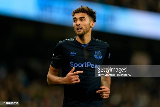 Dominic Calvert-Lewin of Everton during the Premier League match between Manchester City and Everton at the Etihad Stadium on January 1, 2019 in...