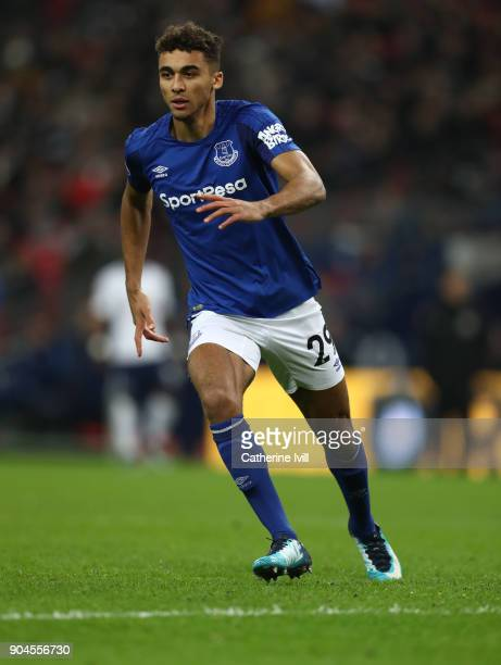 Dominic CalvertLewin of Everton during the Premier League match between Tottenham Hotspur and Everton at Wembley Stadium on January 13 2018 in London...
