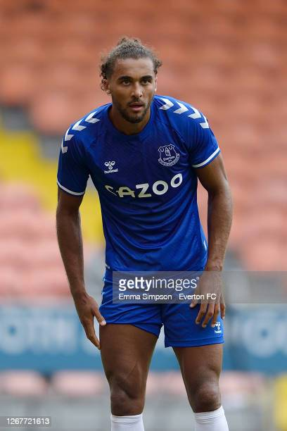 Dominic Calvert-Lewin of Everton during the pre-season friendly match between Blackpool and Everton at Bloomfield Road on August 22 2020 in...