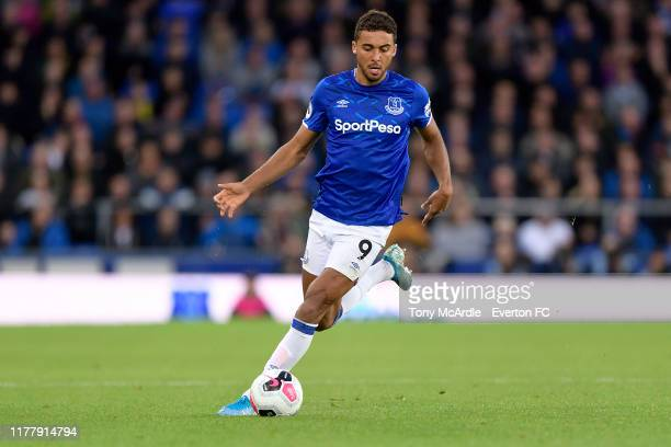 Dominic CalvertLewin of Everton during the the Premier League match between Everton and Manchester City at Goodison Park on September 28 2019 in...