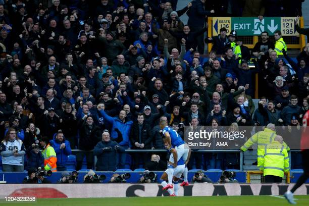 Dominic CalvertLewin of Everton FC celebrates scoring a goal to make it 10 during the Premier League match between Everton FC and Manchester United...