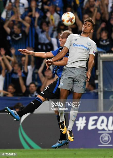 Dominic CalvertLewin of Everton FC competes for the ball with Andrea Masiello of Atalanta during the UEFA Europa League group E match between...