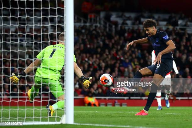 Dominic CalvertLewin of Everton has a shot saved by Bernd Leno of Arsenal during the Premier League match between Arsenal FC and Everton FC at...