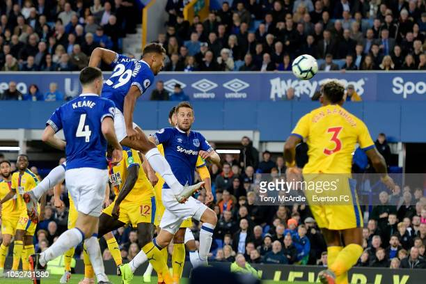 Dominic CalvertLewin of Everton heads to score during the Premier League match between Everton and Crystal Palace at Goodison Park on October 21 2018...